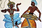 Folk dances depicted on batik fabric. Sri Lanka