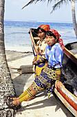 Kuna indians in Mamardup village, Rio Sidra islands, San Blas archipelago. Panama