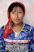 Kuna indian in Mamardup village, Rio Sidra islands, San Blas archipelago. Panama
