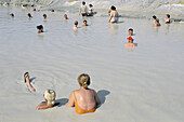 Mud bath at Vulcano island. Eolie Island. Sicily. Italy.
