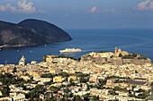 Lipari city at Lipari Island. Eolie Island. Sicily. Italy.