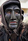Canival with mamuthones mask, Mamoiada. Nuoro province, Sardinia, Italy