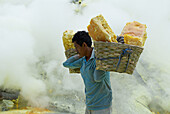 Mining Sulfur by Hand in Kawah Ijen Volcano. Java island. Indonesia.