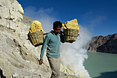 Mining Sulfur by Hand in Kawah Ijen Volcano. Java island. Indonesia.