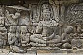 Borobudur Buddhist stupa. The Borobudur stupa dates to the ninth century A.D. UNESCO world heritage. Around 1460 relief sculpture. Java island. Indonesia.