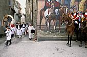 festa della Madonna dei Martiri, religious procession at the village of Fonni. Sardinia. Italy.