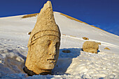 Turkey. East Anatolia Province. Archeological site of Nemrut Dagi. Colossal Head at West Terrace of Hierothesion of Antiochus I. Unesco world heritage.