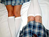 ale, Girl, Girls, Horizontal, Human, Indoor, Indoors, Inside, Interior, Knee, Knees, Leg, Legs, Lying
