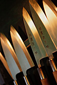 Alike, Asia, Blade, Blades, Close up, Close-up, Color, Colour, Concept, Concepts, Cooking utensil, Cooking utensils, Detail, Details, Indoor, Indoors, Inside, Interior, Japan, Kitchenware, Knife, Knives, Many, Object, Objects, Oriental, Same, Sameness, S
