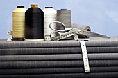 Close up, Close-up, Closeup, Color, Colour, Concept, Concepts, Dressmaking, Fabric, Horizontal, Indoor, Indoors, Inside, Interior, Measuring tape, Measuring tapes, Object, Objects, Roll, Rolls, Scissors, Still life, Tailor, Tailor s, Tape measure, Tape m