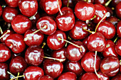 Abundance, Abundant, Agriculture, Aliment, Aliments, Background, Backgrounds, Cherries, Cherry, Close up, Close-up, Closeup, Color, Colour, Detail, Details, Farming, Food, Fruit, Fruits, Harvest, Harvesting, Harvests, Healthy, Healthy food, Horizontal, M