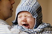 0 to 6 months, 0-6 months, 1 to 6 months, 1-6 months, Adult, Adults, Affection, Babies, Baby, Bond, Bonding, Bonds, Caucasian, Caucasians, Child, Children, Close up, Close-up, Closeup, Color, Colour, Contemporary, Defenceless, Defenseless, Face, Faces, F