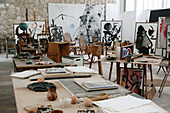 Fundación Pilar i Joan Miró in Palma de Mallorca, workroom and house of the internationally famous artist. The workroom remains untouched since the last time Miró was here. Majorca. Balearic Islands. Spain