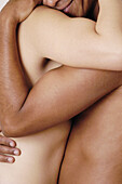Adult, Adults, Affection, Anonymous, Bare, Black man, Black men, Black people, Body, Bond, Bonding, Bonds, Caress, Caresses, Caressing, Caucasian, Caucasians, Close up, Close-up, Closeup, Color, Colour, Concept, Concepts, Contact, Contemporary, Desire, D