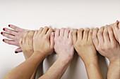 Eight Latino hands.