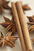Aliment, Aliments, Cinnamon, Close up, Close-up, Closeup, Color, Colour, Concept, Concepts, Cuisine, Flavoring, Flavouring, Food, Foodstuff, Indoor, Indoors, Ingredient, Ingredients, Interior, Nourishment, Pastries, Pastry, Seasoning, Star anise, Still l