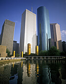 Tall office buildings, Tranquility park, Houston, Texas, USA.