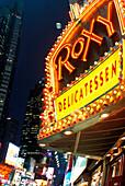 Street scene, Neon sign, Times square, Manhattan, New York, USA.