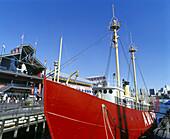 Lightship, South Street seaport, downtown, Manhattan, New York, USA.