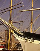 Tall ships & brooklyn bridge, South Street seaport museum, East River, New York, USA.