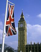 Architektur, Aussen, Big Ben, Detail, Details, Draussen, England, Europa, Fahne, Fahnen, Farbe, Flagge, Flaggen, Gebäude, Großbritannien, Länder, London, Plätze der Welt, Reisen, Schwenken, Sehenswürdigkeit, Sehenswürdigkeiten, Stadt, Städte, Symbol, Sym
