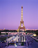 Architecture, Building, Buildings, Cities, City, Cityscape, Cityscapes, Color, Colour, Dusk, Eiffel Tower, Europe, Exterior, France, Illuminated, Illumination, Landmark, Landmarks, Lights, Night, Nighttime, Outdoor, Outdoors, Outside, Paris, Tower, Tower