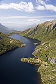 New Zealand, South Island, Fiordland National Park, Lake Norwest - aerial