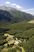 New Zealand, South Island, Fiordland National Park, Iris Burn Hut, Iris Burn, Kepler Track - aerial