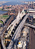 Leonard P. Zakim Bunker Hill Bridge. Boston. Massachusetts. This bridge is the widest (10 lane) cable-stayed bridge in the world, and one of the shortest (1,457 feet long). It s the first bridge in the United States with an asymmetrical hybrid design