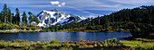 Mount Shuksan and Picture Lake, autumn. Mount Baker-Snoqualmie National Forest. Washington. USA
