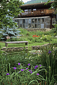 Spiderwort fgnd, Wood bench faces pond w/ water lilies, backed by Lupines, Peonies, Poppies, Phlomis and Iris; greenhouse attached to home bkgnd (Tradescantia sp.; Lupinus sp.; Paeonia cv.; Papaver orientale Turkenlouis ; Phlomis sp...