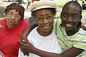 Juneteenth Celebration, Kelly Ingram Park, emancipation, Black grandmother, girl. Birmingham, Alabama. USA.