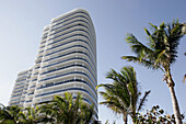 Majestic Tower, high rise luxury condominium, building, landscaping, palm trees. Collins Avenue. Bal Harbor. Florida. USA.