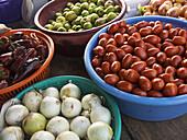 Produce market on streets of San Lucas Toliman, Guatemala, near Lake Atitlan