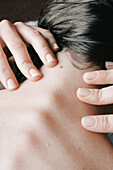 Adult, Adults, Alone, Back, Body care, Close up, Close-up, Closeup, Color, Colour, Detail, Details, Doctor, Finger, Fingers, Hair, Hand, Hands, Health, Healthy, Human, Indoor, Indoors, Inside, Interior, Massage, Massages, Massaging, Nail, Nails, Nape, Na
