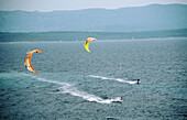Kite surfers. Beach near Bol. Zlatni Rat (Golden Cape). Brac Island. Croatia