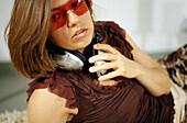 ones, Eyeglasses, Female, Generation X, Glasses, Headphones, Horizontal, Human, Indoor, Indoors, Inte