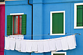 Clothes out to dry. Island of Burano, Venetian lagoon. Italy