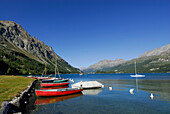 Boats at Lake Sils, Upper Engadin, Grisons, Switzerland