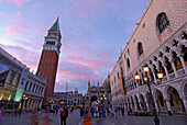 Tower Campanile and Ducal Palace at Piazza San Marco in twilight, Venice, Venezia, Italy