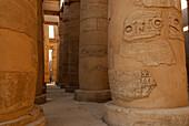 relief-ornamented pillar in temple of Karnak, Egypt, Africa