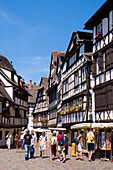 Haöf-timbered houses in the old part of the town, Petite France, Strasbourg, Alsace, France