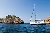 A sailing boat, yacht in a bay, Vis Island, Croatia