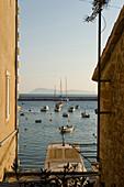 Boats and sailing boats in Komiza Hafen, Vis Island, Croatia