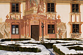 Fresco (Lueftlmalerei) at a house facade of the Pilatushaus, Oberammergau, Upper Bavaria, Germany