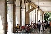 Sidewalk café, Plaça de la Independencia, Girona, Catalonia, Spain