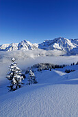 Snow covered mountain scenery, mount Sonnenkopf, Allgaeu Alps, Bavaria, Germany