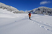 Back-country skier, Balderschwang Valley, Allgaeu Alps, Bavaria, Germany