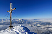 Cross on summit of Naunspitze, view to Bavarian foothills with Wendelstein, fog bank in the valley of river Inn, Naunspitze, Zahmer Kaiser, Kaiser range, Kufstein, Tyrol, Austria