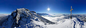 snow-covered mountain scene, panorama from summit of Naunspitze, Zahmer Kaiser, Kaiser range, Kufstein, Tyrol, Austria